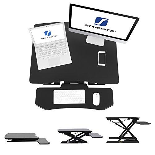 SONGMICS Sitz-Steh-Schreibtisch Höhenverstellbarer Aufsatz Laptop-Ständer Monitorständer Schnell Zum Stehen Einstellen Abnehmbaren und winkeleinstellbaren Tastaturablage 80 x 62 cm Schwarz LSD08B - 4