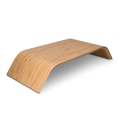 kalibri Bildschirm Holzständer TV Ständer - Computer Tisch Schreibtisch Aufsatz Monitorständer Desktop Bank - Schreibtischaufsatz aus Bambus