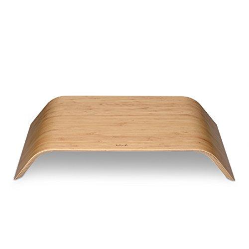 kalibri Bildschirm Holzständer TV Ständer - Computer Tisch Schreibtisch Aufsatz Monitorständer Desktop Bank - Schreibtischaufsatz aus Bambus - 5