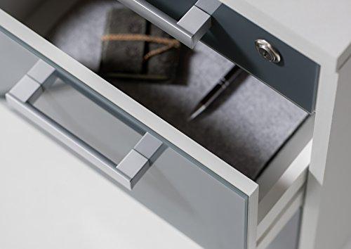 Stella Trading Office Lux Rollcontainer Abschließbar, Holzdekor, Korpus: Lichtgrau, Front Glas Graphit Lackiert, 40 x 56 x 40 cm - 4