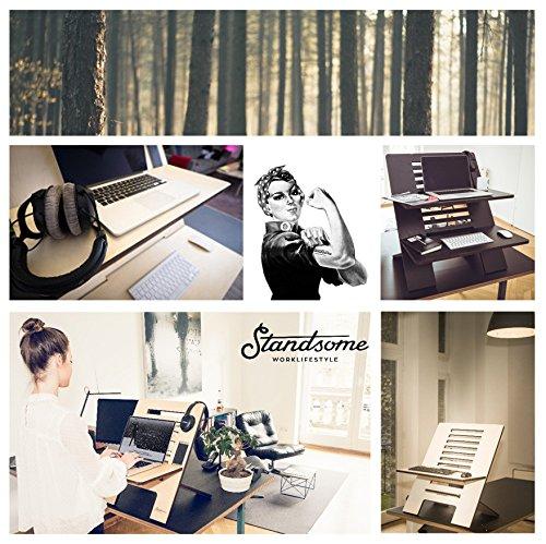 Stehschreibtisch Aufsatz aus Holz - Der höhenverstellbare STANDSOME SLIM Steh Sitz Schreibtisch für ein gesundes Arbeiten im Büro oder ganz egal wo - 7