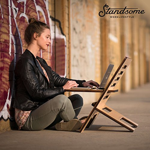 Stehschreibtisch Aufsatz aus Holz - Der höhenverstellbare STANDSOME SLIM Steh Sitz Schreibtisch für ein gesundes Arbeiten im Büro oder ganz egal wo - 8