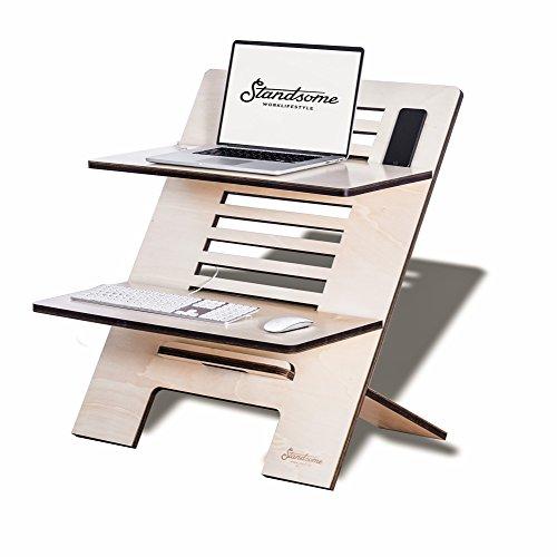 Stehschreibtisch Aufsatz aus Holz - Der höhenverstellbare STANDSOME DOUBLE Steh Sitz Schreibtisch für ein gesundes Arbeiten im Stehen