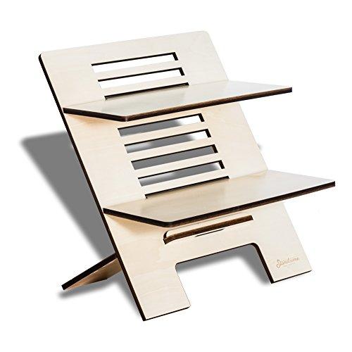 Stehschreibtisch Aufsatz aus Holz - Der höhenverstellbare STANDSOME DOUBLE Steh Sitz Schreibtisch für ein gesundes Arbeiten im Stehen - 2