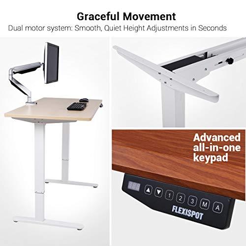Flexispot E2B Höhenverstellbarer Schreibtisch Elektrisch höhenverstellbares Tischgestell, passt für alle gängigen Tischplatten. Mit Memory-Steuerung und Softstart/-Stop. (Tischgestell-2 Fach Schwarz) - 4
